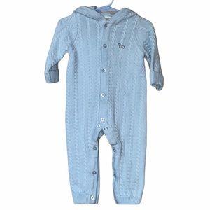 9M Baby Blue Knit Puppy One Piece   Little Me EUC
